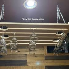 wooden hanging wine glass rack 5 row 24