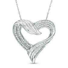 round diamond double row heart pendant