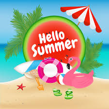 Hello Summer Season Background and Objects Design with Flamingo ...