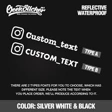 Custom Instagram Decal For Car Instagram Sticker Waterproof Reflective Universal Car And Motorcycle Decals Bumper Sticker Instagram Name Sticker 2 Type Geeksticker