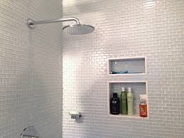 glass subway tile bathrooms by