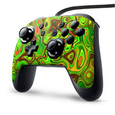Amazon Com Skin Vinyl Decal Wrap For Nintendo Switch Pro Controller Skins Stickers Cover Green Glass Trippy Psychedelic Video Games