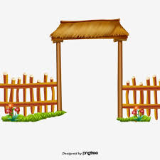 A Door With Straw In The Green Grass Railing Fence Farm Png Transparent Clipart Image And Psd File For Free Download