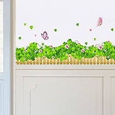 Amazon Com Dnven Large 79 Inches X 22 Inches Green Clovers Green Grasses With Butterflies Border Decals Baseboard Stickers Stripe Wall Decals Nursery Bedroom Bathroom Kids Rooms Removable Wall Stickers Murals Home