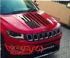 Vinyl Hood Decal Compatible With Jeep Compass American Distressed Flag Usa Ebay