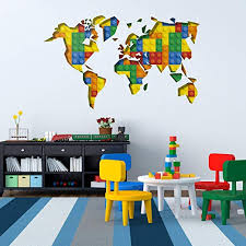 Amazon Com World Map Kids Decal Travel Inspired Wall Bedroom Decor Sticker 59 1 X 34 6 Inches 150 X 88 Cm Home Kitchen