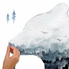 Watercolor Mountain Bear Peel And Stick Giant Wall Decal Roommates Decor