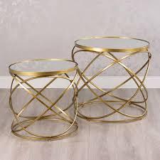 gold metal spiral mirrored glass nest