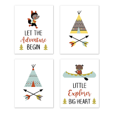 Amazon Com Sweet Jojo Designs Aqua And Yellow Woodland Wall Art Prints Room Decor For Baby Nursery And Kids For Outdoor Adventure Collection Set Of 4 Little Explorer Baby
