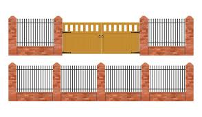 Brick Fence With Wooden Gate Isolated Download Free Vectors Clipart Graphics Vector Art