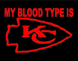 My Blood Type Is Kc Chiefs Vinyl Window Decal Pick Your Size Etsy
