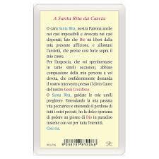 Santino Santa Rita da Cascia Preghiera a Santa Rita ITA 10x5 ...