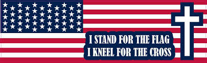 10in X 3in I Stand For The Flag I Kneel For The Cross Sticker Stickertalk