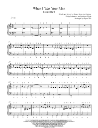 When I Was Your Man by Bruno Mars Piano Sheet Music