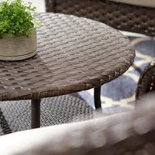 match brown round wicker outdoor patio