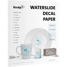 Koala Waterslide Decal Transfer Paper Clear 8 5x11 Inches Transparent Printable 20 Sheets For Inkjet Printer