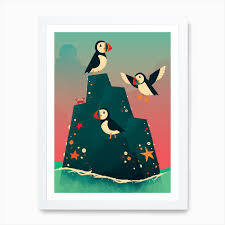 Puffin Rock Art Print By Dinomike Fy