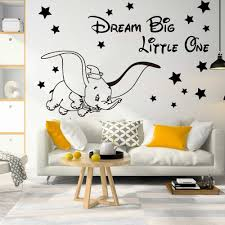 Cartoon Dream Big Little One Fly Dumbo Elephant Star Wall Decal Kids Room Dumbo Animal Inspirational Quote Wall Sticker Wall Stickers Aliexpress