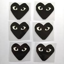 Black Comme Des Garcons Patches For Custom Air Force 1 Black Heart Decal For Custom Sneakers Adg Theme Theshoesgirl