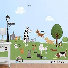 Dog And Cat Wall Stickers City Park Theme Wall Decals