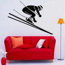 Skiing Wall Decal Skier Speed Winter Extreme Sport Door Window Vinyl Sticker Teens Bedroom Living Room Home Decor Wallpaper Wall Stickers Aliexpress