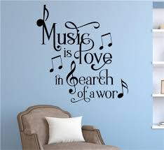 Music Is Love In Search Of A Word Vinyl Decal Wall Stickers Letters Words Home Decor