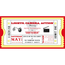Movie Ticket Cinema Drive In Birthday Party Printable Invitation