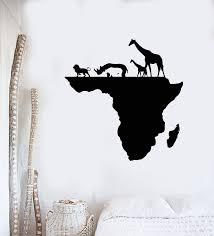 Vinyl Wall Decal Africa Continent Map Animals Lion Rhinoceros Giraffe Wallstickers4you