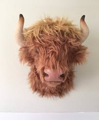 highland cow wall mount bison faux
