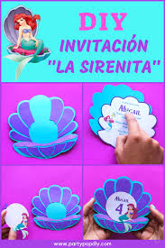 La Sirenita Ariel Invitacion Infantil Party Pop