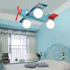 3 Lights Kids Bedroom Led Chandelier Blue Wooden Airplane Pendant Ceiling Light Ebay
