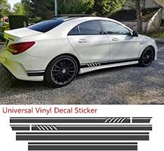 Amazon Com Mountainvalleyclimber Universal Black Car Racing Body Side Stripe Skirt Roof Hood Decal Sticker For All Cars Vinyl Bumper Decal 4pcs Automotive