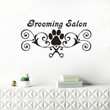 grooming salon sign wall decals dog paw