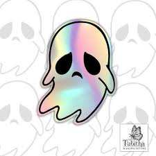 Holographic Cute Spooky Ghost Vinyl Decal Sticker Rainbow Etsy