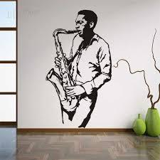 Musical Instrument Saxophone Wall Stickers Jazz Club Musician Player Vinyl Wall Decals Music Club Decoration Saxophone Murals Wall Stickers Aliexpress