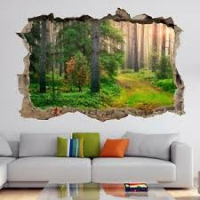 Green Forest Sunrise Wall Art Stickers Mural Decal Home Office Decor Hk32 Ebay