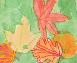 crayon resist fall leaves painting