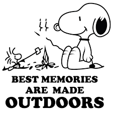 Snoopy Camping Quotes Vinyl Home Wall Decal Best Memories Are Made Outdoors Ebay