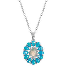 opal turquoise silver cer pendant