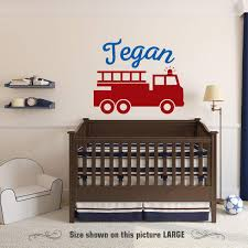 Amazon Com Zixinruies Fire Truck Wall Decal Personalized Child S Name Removable Vinyl Nursery Decor Children Boys Firefighter Nursery Bedroom Decor Home Kitchen