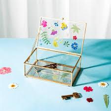pressed flowers glass jewellery box