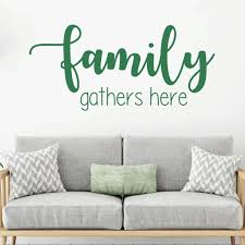 Amazon Com Family Wall Decal Family Gathers Here Vinyl Art For Living Room Bedroom Or Home Decor Handmade