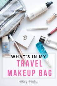 what s in my travel makeup bag abby
