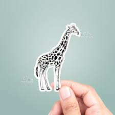 Giraffe Drawing Vinyl Sticker Best Friend Gift Animal Etsy