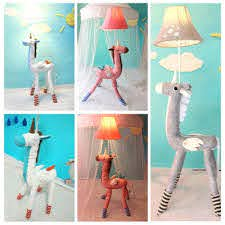 1 Head Unicorn Standing Light Kids Room Bedside White Gray Pink Fabric Shade Floor Lamp Takeluckhome Com