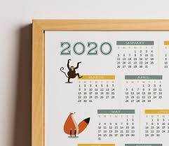 2020 Calendar Printable With Cute Animals For Kids Baby Nursery Room Poster Wall Art Diy A2 And A3 Size Instant Download At Home Room Posters Diy Wall Art Animals For Kids