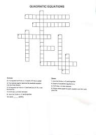 linear equations crossword puzzle