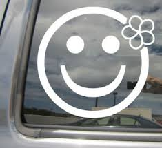 Smiley Face Plumeria Flower Girly Cute Car Window Vinyl Decal Sticker 05056 Ebay