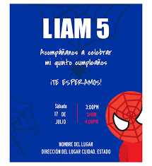 Invitacion Cumpleanos Spider Man Diseno Digital Personalizable