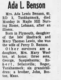 Obituary for Ada Lewis Benson (Aged 60) - Newspapers.com
